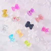 50pcs resin bear decorations japanese butterfly stereoscopic bear wild nail jewelry teddy bear nail charms