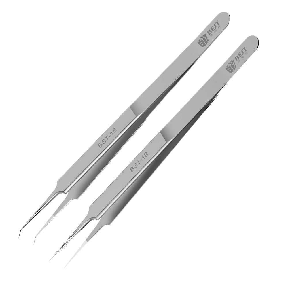 1 قطعة فائقة الدقة الملقط الفولاذ المقاوم للصدأ منحني مستقيم 0.02m يطير سلك سوبر الصلب الملقط بغا اللوحة الصيانة القراص