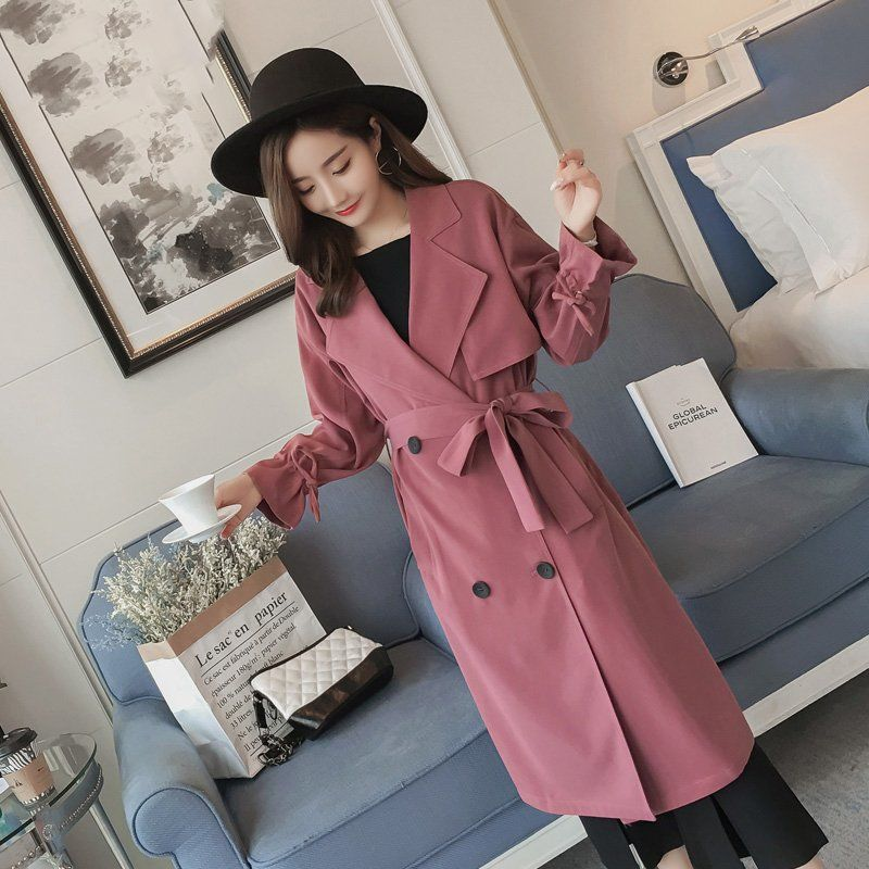 Women Casual Long Trench Coat With Belted Double Breasted Women's Windbreaker 2021 Female England Style Slim Coat chic women s trench coat spring autumn belted short coat fashion slim fit double breasted short trench coat g092