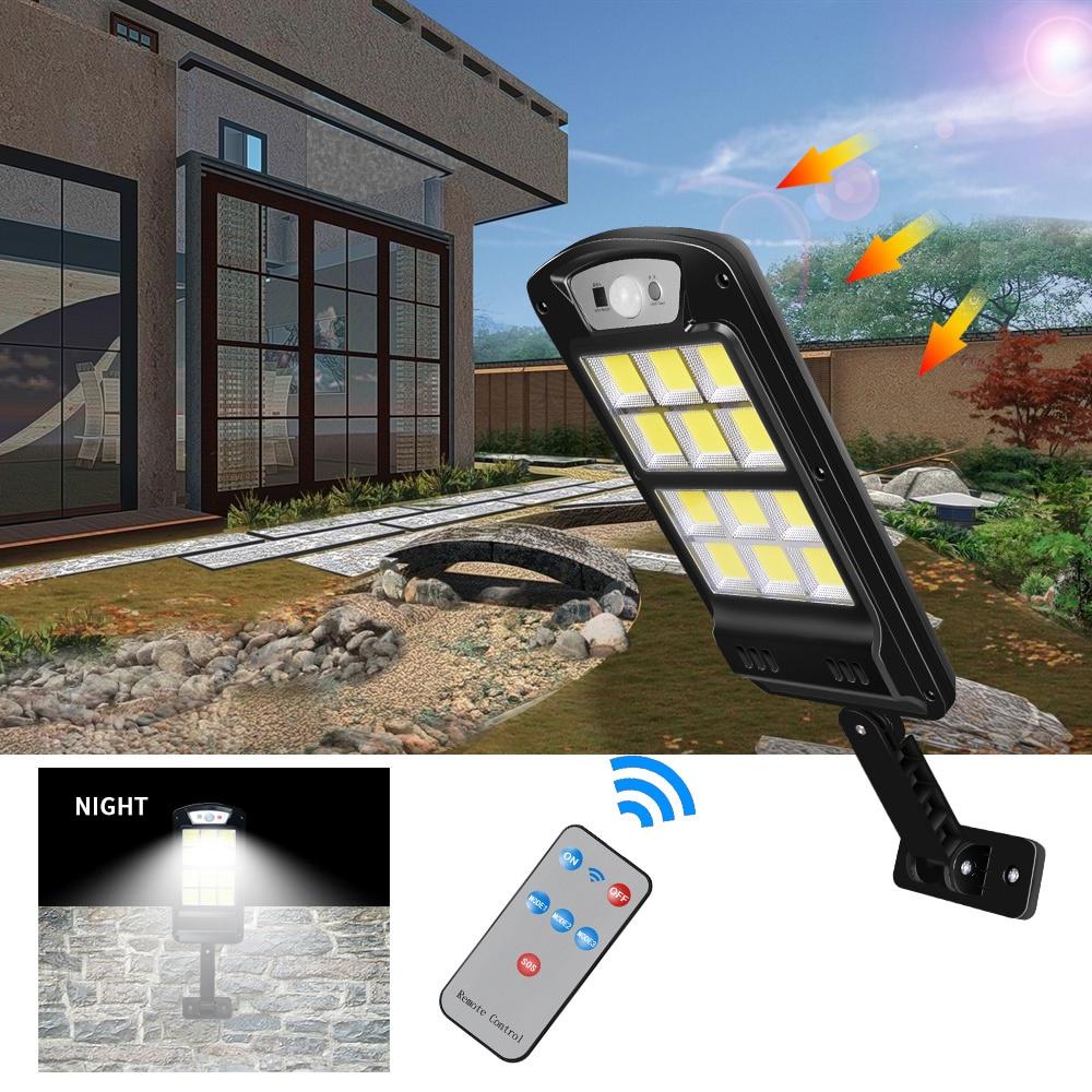 ROMWISH Powerful Remote Control COB Solar Light Led Outdoor Solar Lamp PIR Motion Sensor Garden Wall Street Lights Decorative
