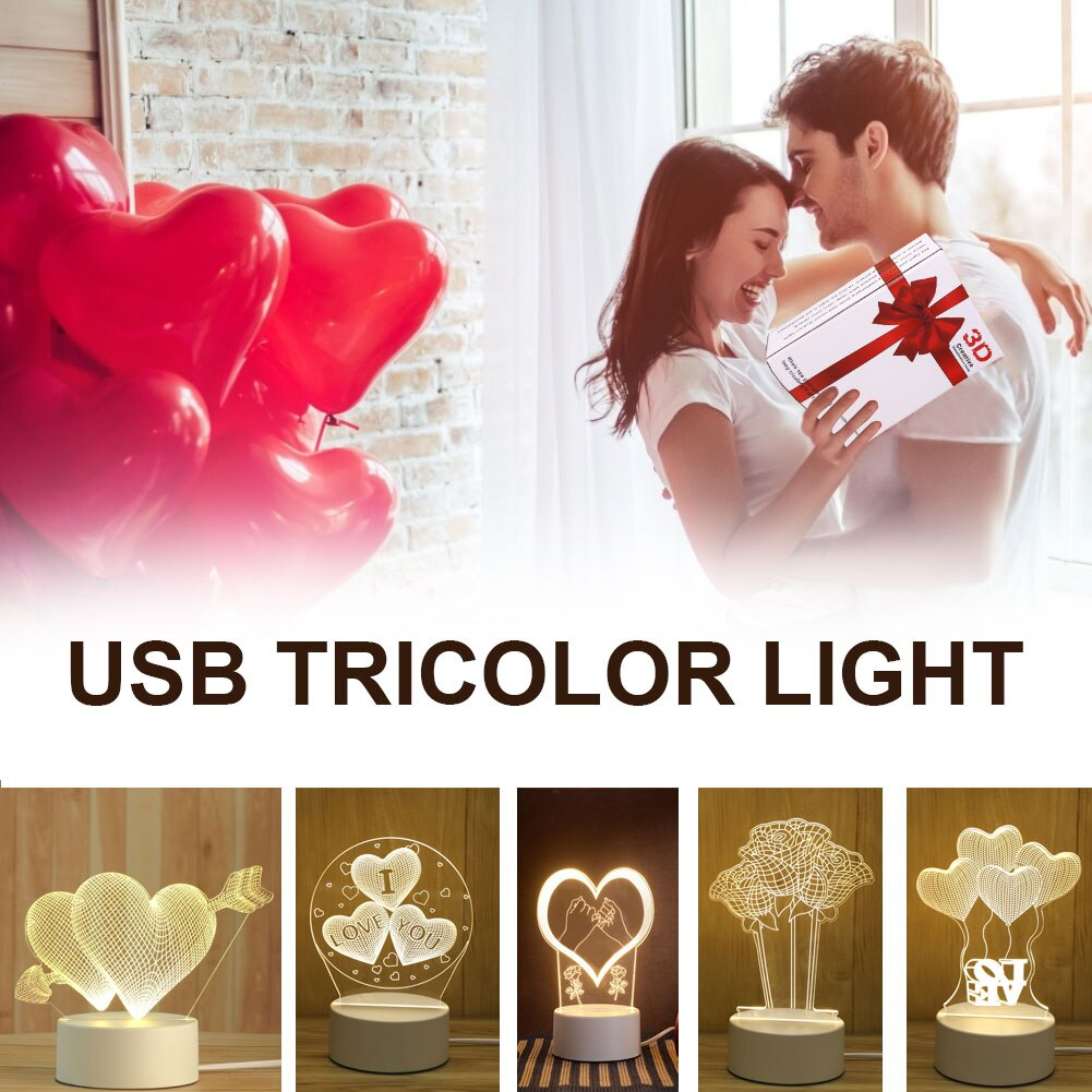 3D Sensor Night Light USB Cartoon Light Acrylic Atmosphere Lamp 3 Changeable Light Colors for Bedroom Decor Valentine's Day Gift