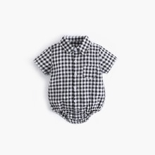ATUENDO Summer Plaid Newborn Baby Rompers 100% Cotton Kawaii Cute Boy's Clothes Jumpsuit Fashion Sat
