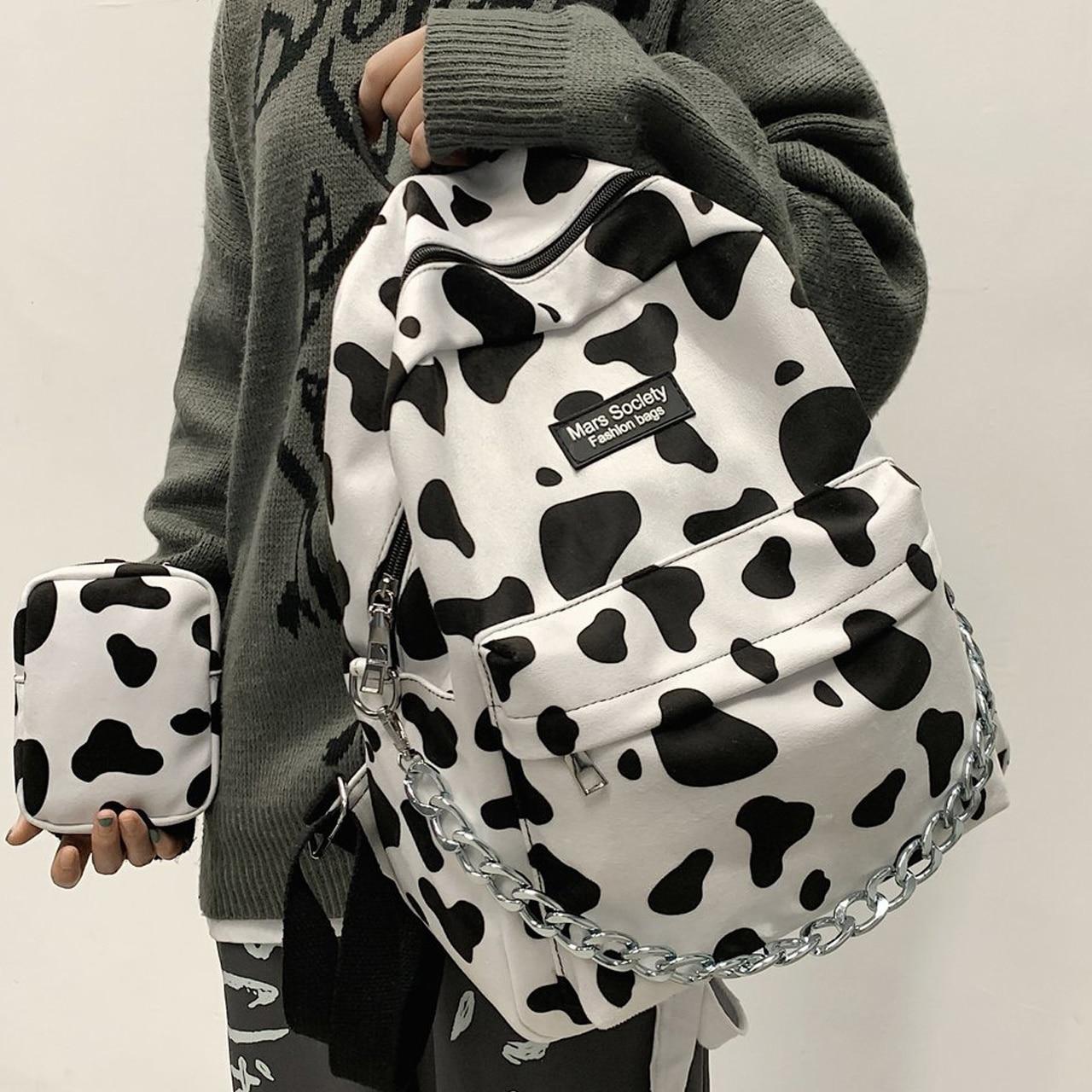 Fashion Cow Print Bags Kawaii Girl Schoolbag for College Bookbag Mochilas Trendy Women Shoulder Back
