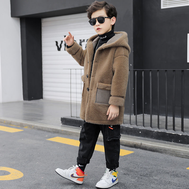 2021 Autumn Winter Children Boys Fashion Woolen Coat Kids Boys Plus Velvet Thicken Warm Outwear Teenage Long Wool Jacket D231 enlarge