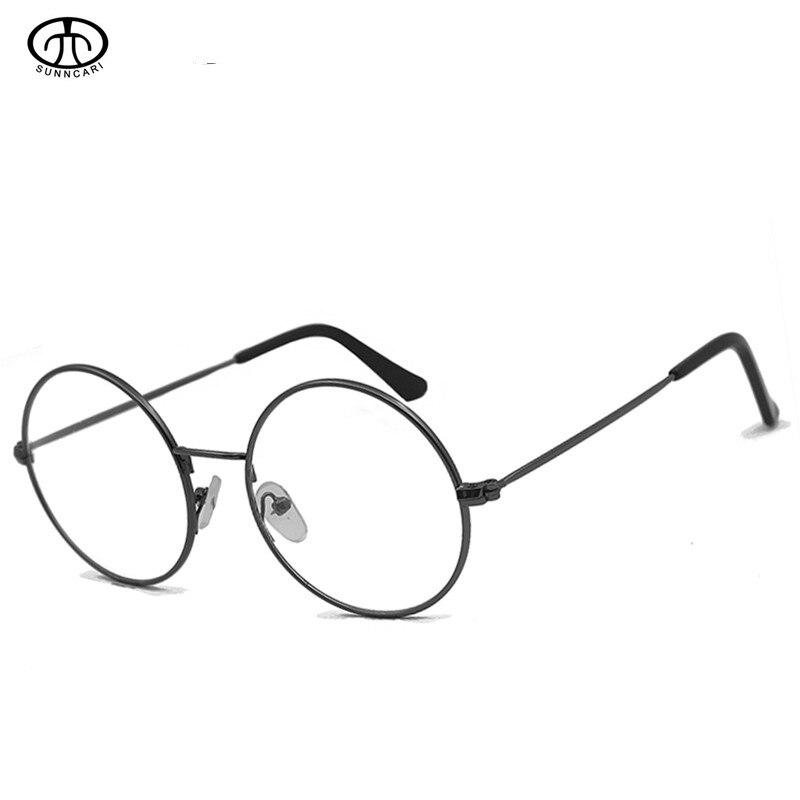 Anti Blue Clear Prescription Glasses Women Men Vintage Round Alloy Myopia Optical Eyeglasses Frames Solid Black Metal Eyewear