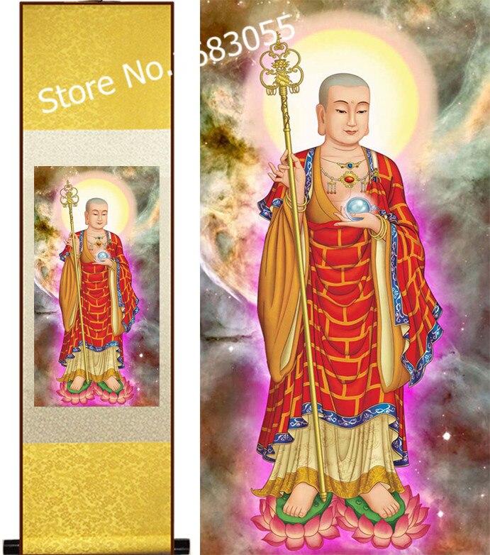 La figura de Buda doble loto mord budismo cuelga imagen/Pintura de rollo...