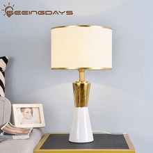 Luxuriou doré et blanc conique céramique lampe de Table Led lampe de chevet chambre lampe 220v 110v noir blanc abat-jour décor à la maison