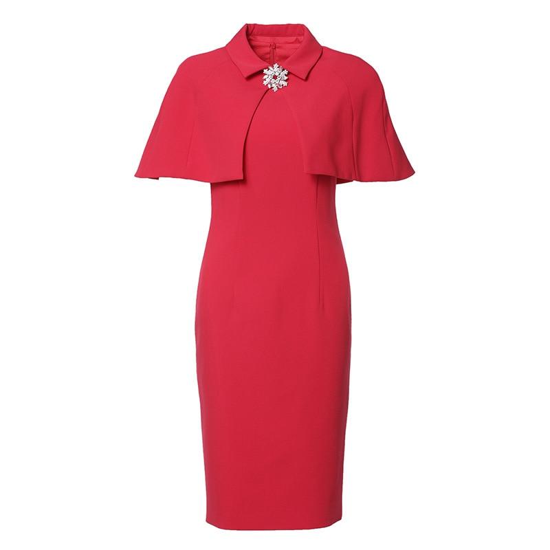 2020 women's new style dress solid Cape slim dress short sleeve red Dress female sheath dresses