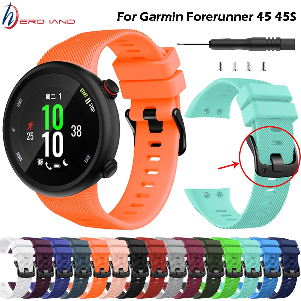 Sports Soft Silicone Case Cover Replacement Watch Band Wrist Strap for Garmin Forerunner 45 45S Smart watch Wearable accessories