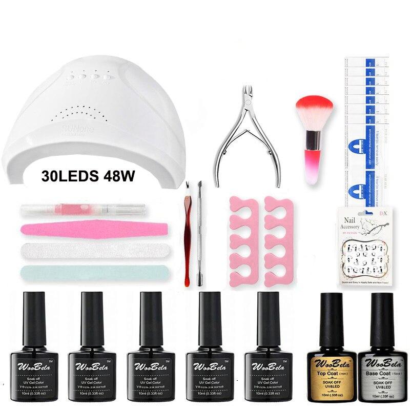 Nova chegada ferramentas de manicure conjunto arte do prego wtih 48w led uv prego lâmpada gel polonês conjuntos cores pedicure manicure kit