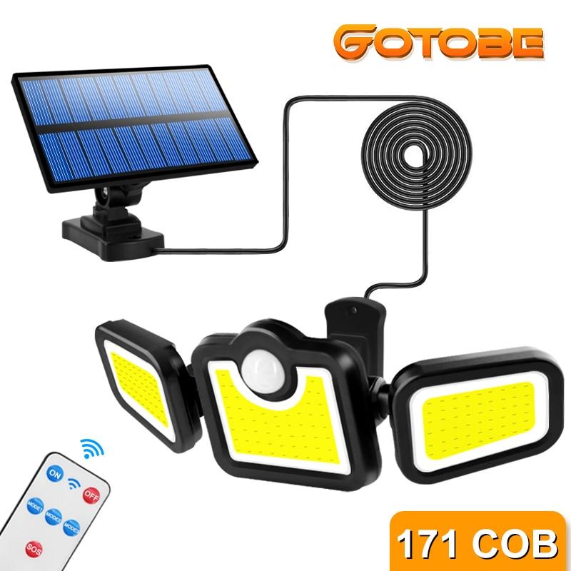 Solar Lights Outdoor 171 COB LEDs Motion Sensor Light 3 Head Remote Control Wall Light 270 Wide Angle Flood Light for Garden