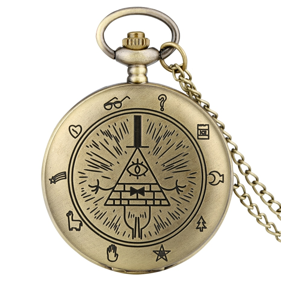 Gravity Fall Bill Cipher Time Gem Necklace Quartz Pocket Watch Weird Town Triangle One-Eyed Devil Pe