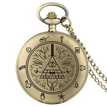 Gravity Fall Bill Cipher Time Gem Necklace Quartz Pocket Watch Weird Town Triangle One-Eyed Devil Pe