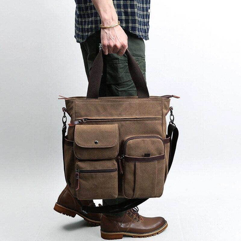 2021 Canvas Shoulder Bag Men Messenger Business Portable Canvas Men Bag Vertical Shoulder Electric Messenger Bag Men's Briefcase