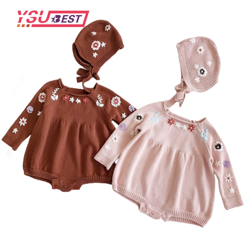 2020 otoño bebé Bodysuit Bordado hecho a mano mono de flores bebé Niñas Ropa de punto + sombrero de Punto 2 uds ropa de algodón