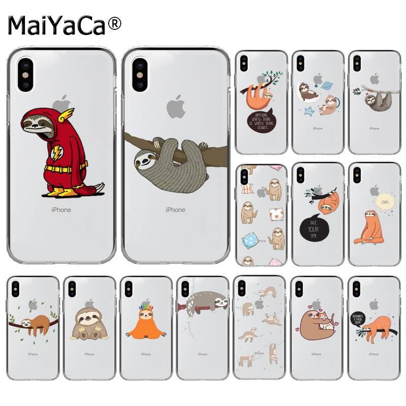 Maiyaca sloth animais bonitos telefone capa para iphone se 2020 11 pro xs max 8 7 6 s plus x 5 5S se xr capa
