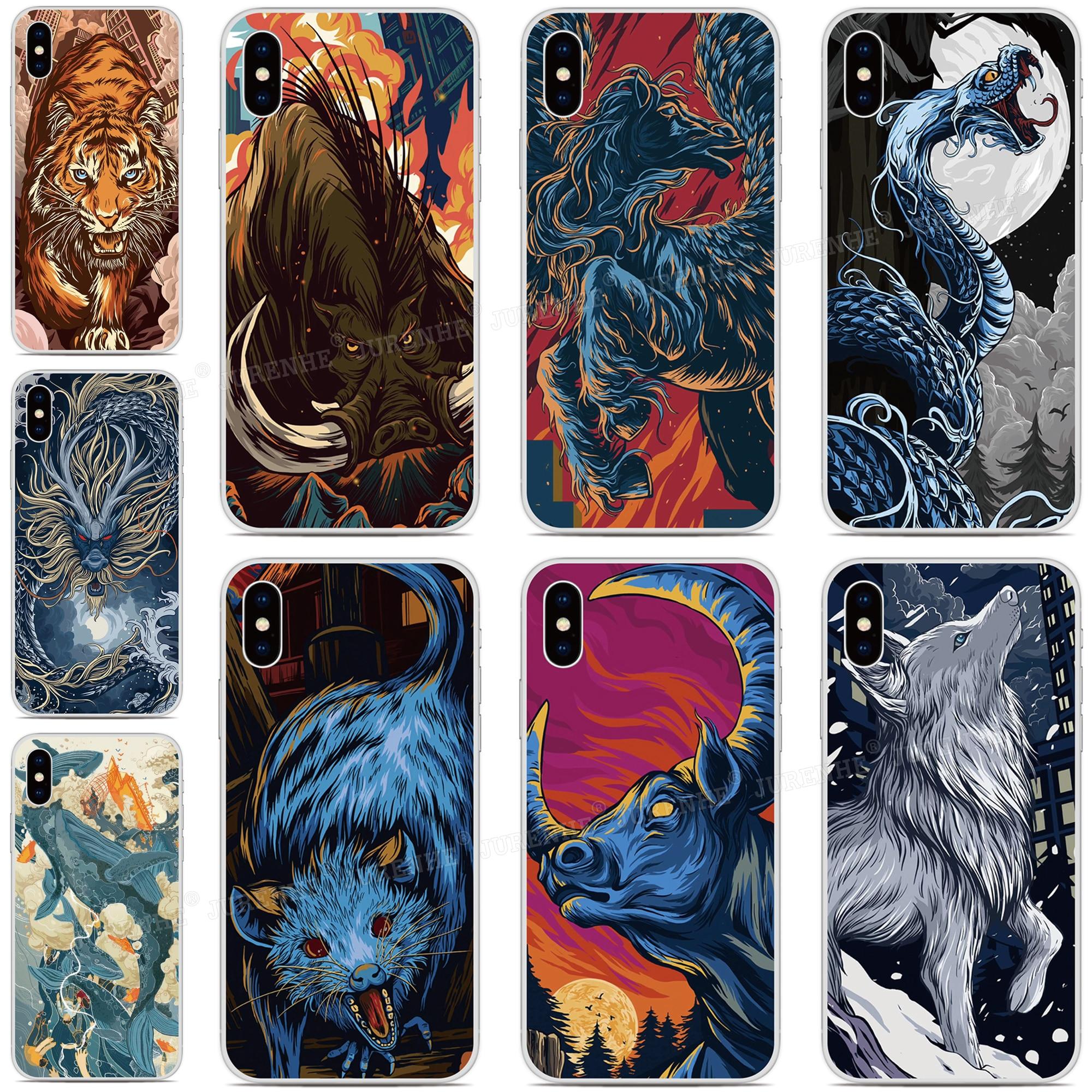 TPU souple 12 Zodiac Motif Animal coque de téléphone Pour Doogee N20 Y9 Plus N10 Y7 Y8 Y8C X70 X60 X60L X50 X50L X30 X55 Housse En Silicone