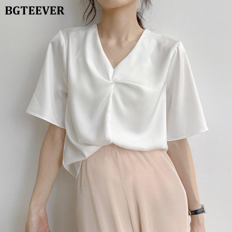 Bgteever sólido com decote em v mulheres chiffon blusas senhoras solto manga curta feminino tops camisas 2020 verão casual blusas brancas