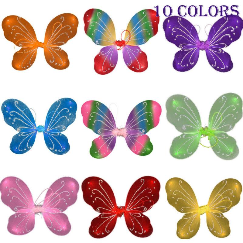 42cm fantasia adulto criança pixie asa com glitter fada grande borboleta tutu vestir-se princesa menina festa traje acessório 10 cores