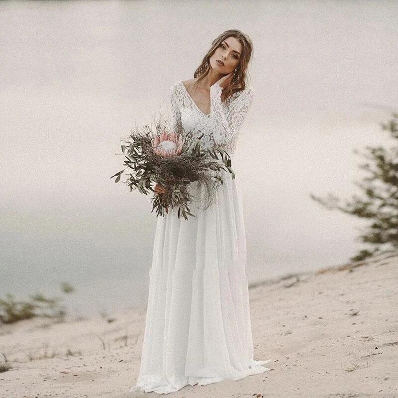 Promo Wedding dress Lace Wedding Dress V-neck Retro Beautiful Bridal Dresses Long Sleeve Chiffon Skirt Tailing Backless Custom Made