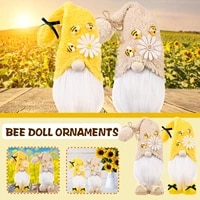 Bourdon abeille Gnome scandinave Tomte Nisse suedois miel abeille elfes maison ornements mignons  jouets elfes faits a la main  decoration de fete de noel a la maison 2 pieces