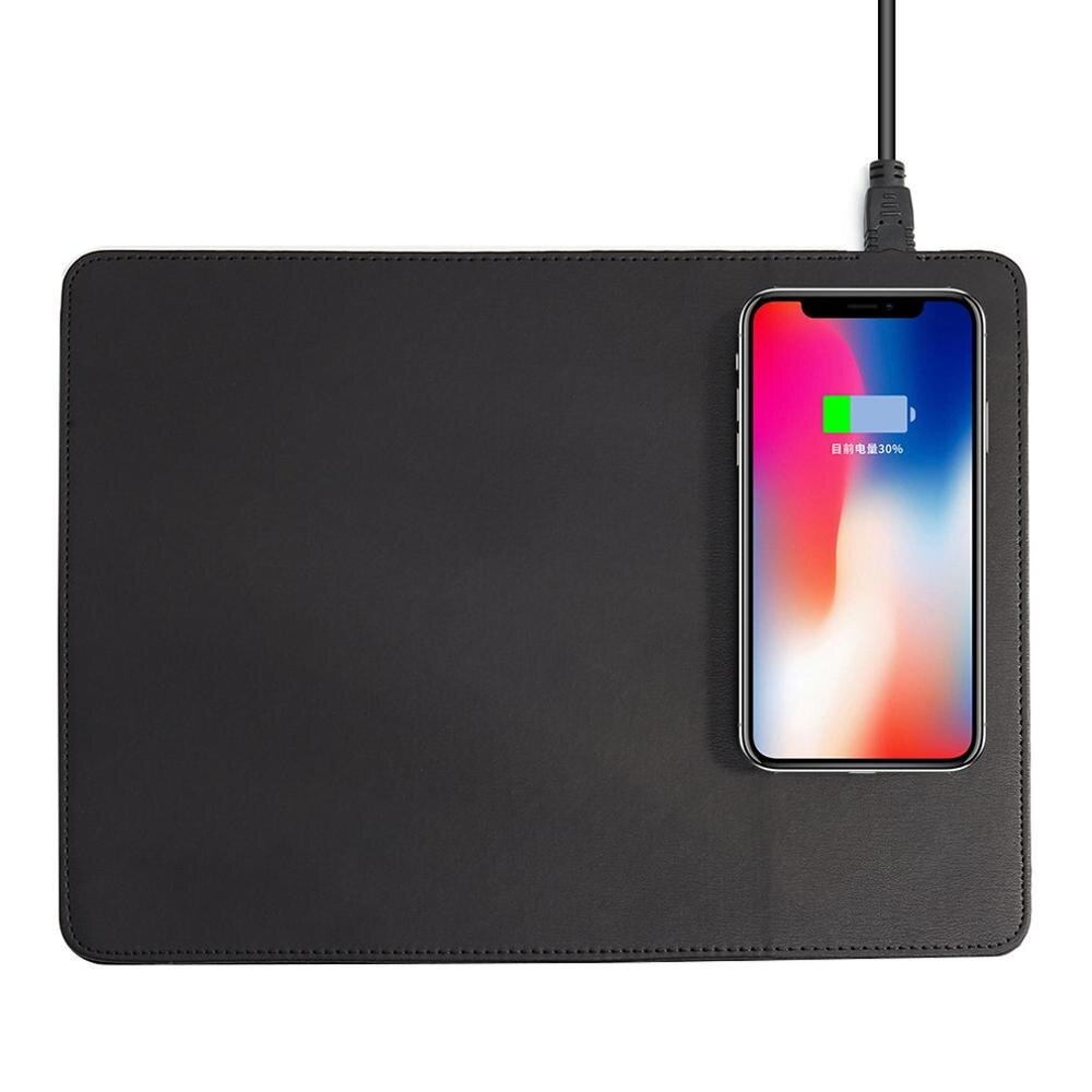 Alfombrilla de ratón de carga inalámbrica Qi para teléfono móvil, alfombrilla de ratón de cuero PU para Iphone X / 8 Plus Samsung S8 Plus / Note 8 Stock