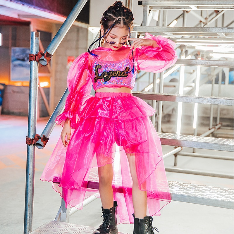 2021 الفتيات أزياء رقص الجاز الاطفال نموذج المنصة مرحلة الموضة الراقية الملابس الشارع الرقص الهيب هوب الترتر الدانتيل الملابس