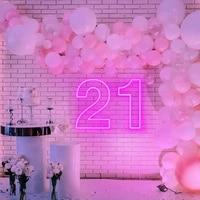ohaneonk 3d custom happy birthday 21 party neon sign decor led neon sign light