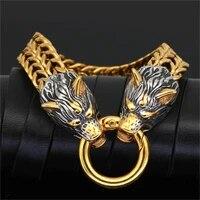 titanium steel bracelet mens fashion first jewelry retro personality domineering wolf punk mens charm bracelet jewelry gift