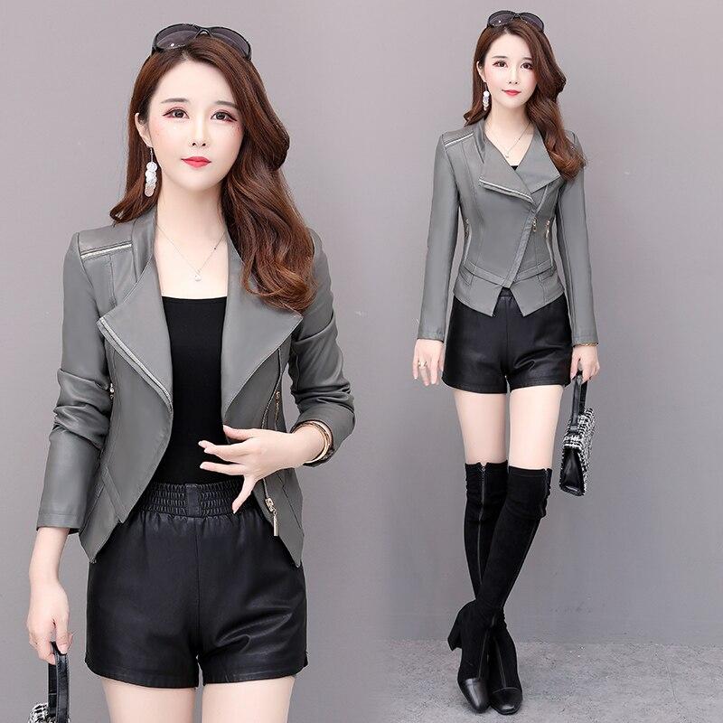 Женская кожаная куртка из искусственной кожи, короткая осенняя куртка на молнии, тонкий серый и черный костюм из искусственной кожи
