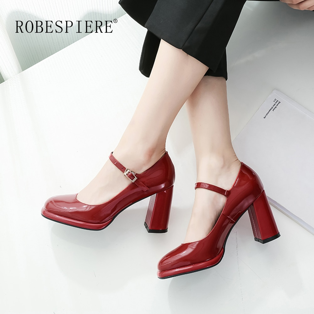 ROBESPIERE-Autumn Women Mary Janes Shoes Classics Buckle Strap Shallow Mouth Pumps Women New Party W