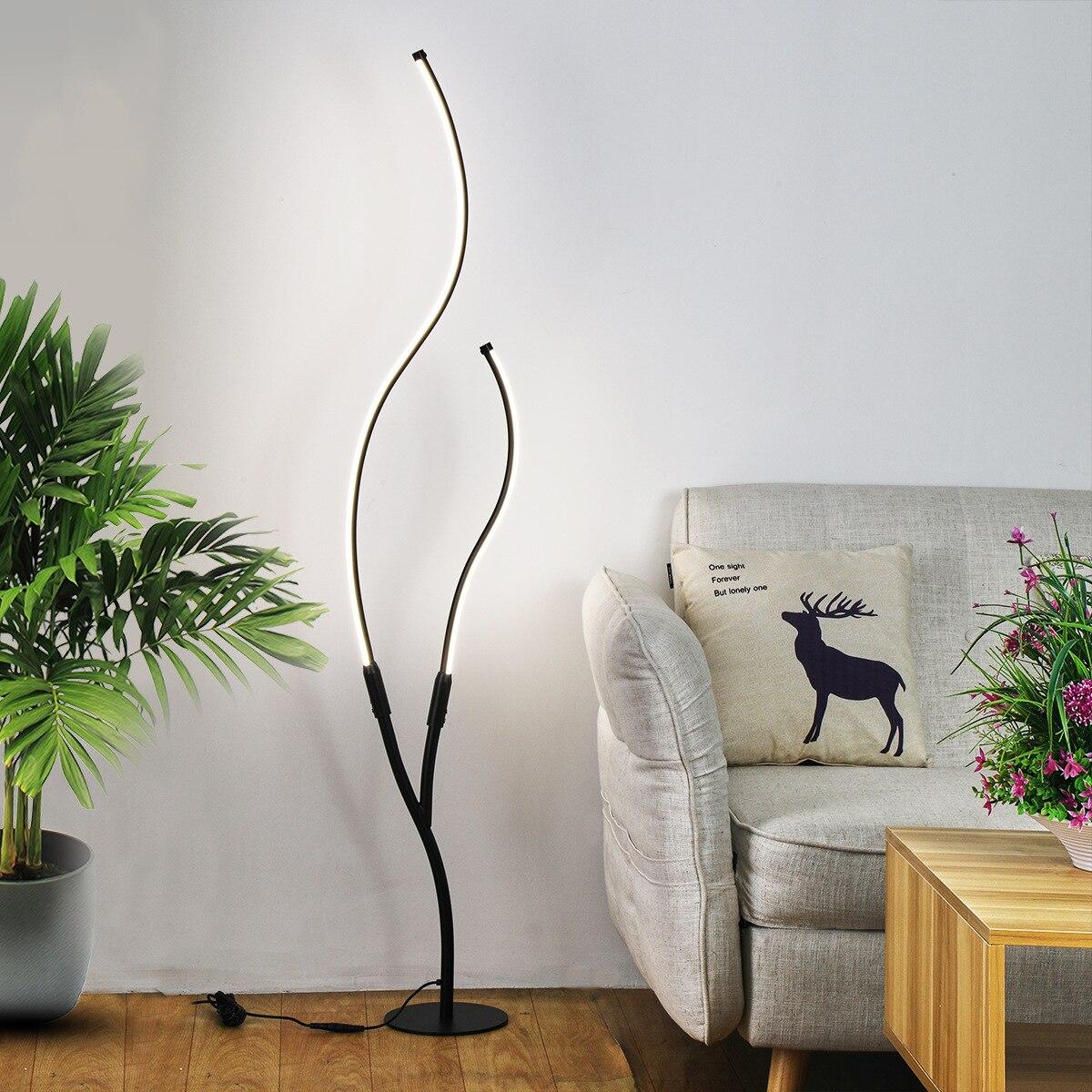 الحديثة شجرة لمبة أرضية ليد غرفة المعيشة غرفة نوم إضاءة داخلية السرير القدم مصباح أسود أبيض الزاوية الطابق الدائمة ديكور تركيبات