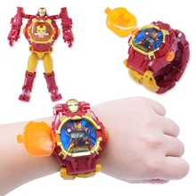 Light Digital Children Watches Boys Cartoon Robot Transformation Wristwatch Toy Mecha Robot Electron