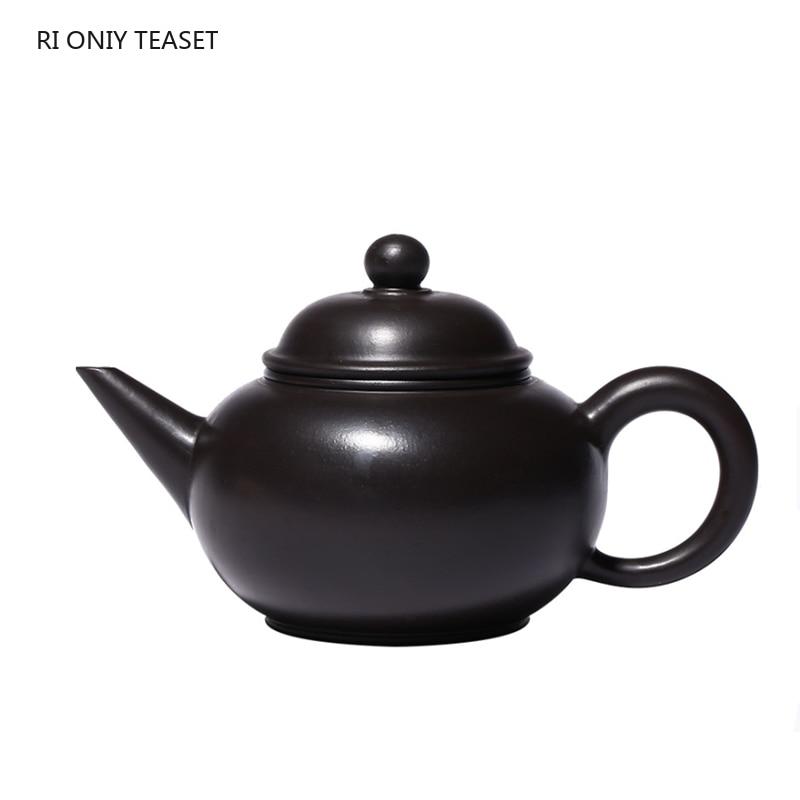 Yixing-أباريق شاي من الطين الأرجواني ، أصلي ، خام ، أسود ، غلاية تجميل ، صناعة يدوية ، هدية مخصصة ، 180 مللي
