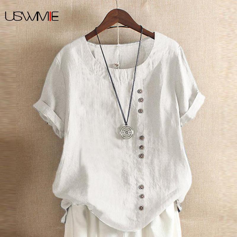 Envío Gratis, camiseta informal de verano de estilo informal para mujer, de algodón y lino, cuello redondo, camiseta de talla grande para mujer