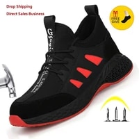 work safety boots men shoes sneakers breathable anti smashing lightweight work boots indestructible sneakers with steel toe cap
