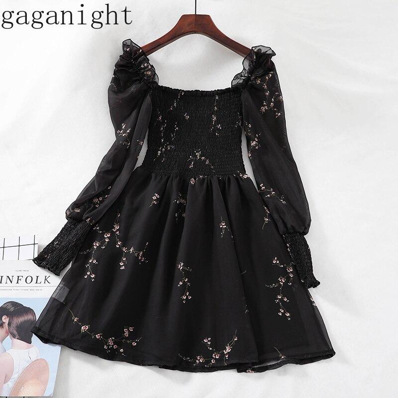 Gaganight Элегантное Черное вечернее платье для женщин лето осень длинный рукав квадратный воротник оборки Цветочные Мини платья для женщин ретро шик
