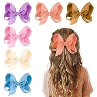 oaoleer 2021 new 4inch baby girl ribbon hair bows clips boutique handmade colorful ribbon grosgrain hair bow with clips