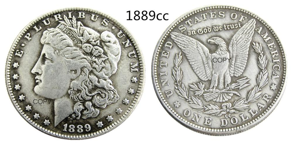 US 1889-CC Morgan Dollar Copy Coin Silver Plated