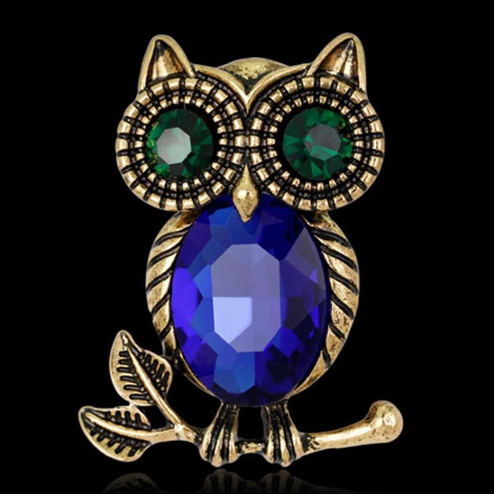 Vintage Womens Retro Rhinestone Crystal Cartoon Animals Owl Brooch Pin Wedding Party Bridal Collar Up Brooches Costume Jewelry