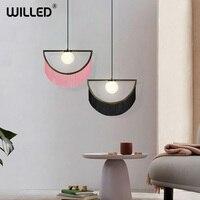 Nordic Tassels Bedroom Pendent Lights Simple Living Room Dining Room Restaurant Bar Creative Pendent Lights LED Glass Lighting