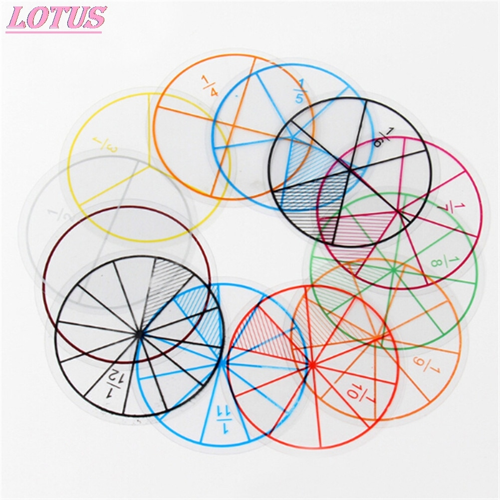 12 шт./лот математические фракции круги игрушечные пластиковые пронумерованные фракции круги математические чипы математические цифры игр...