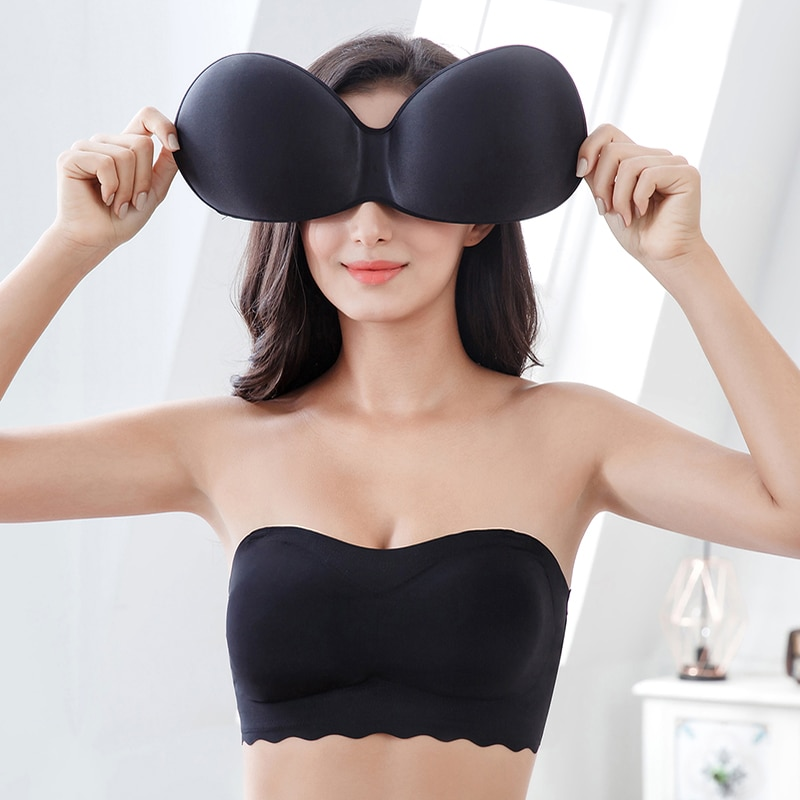 Sutiã push-up adesivo, plus size, sem alças, para mulheres, cor sólida, auto adesivo, invisível, 2019, quente, sutiã push-up M-7XL