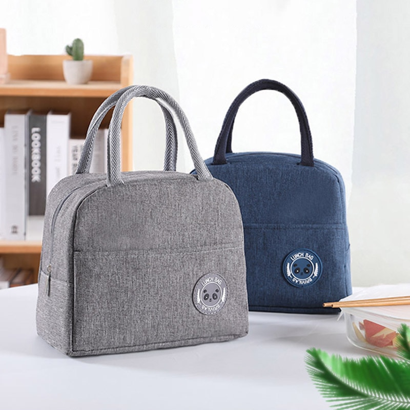 QLunch Bag for Picnic Travel  Oxford Aluminum film Pure Color Insulation Package Portable Breakfast Food Box Waterproof