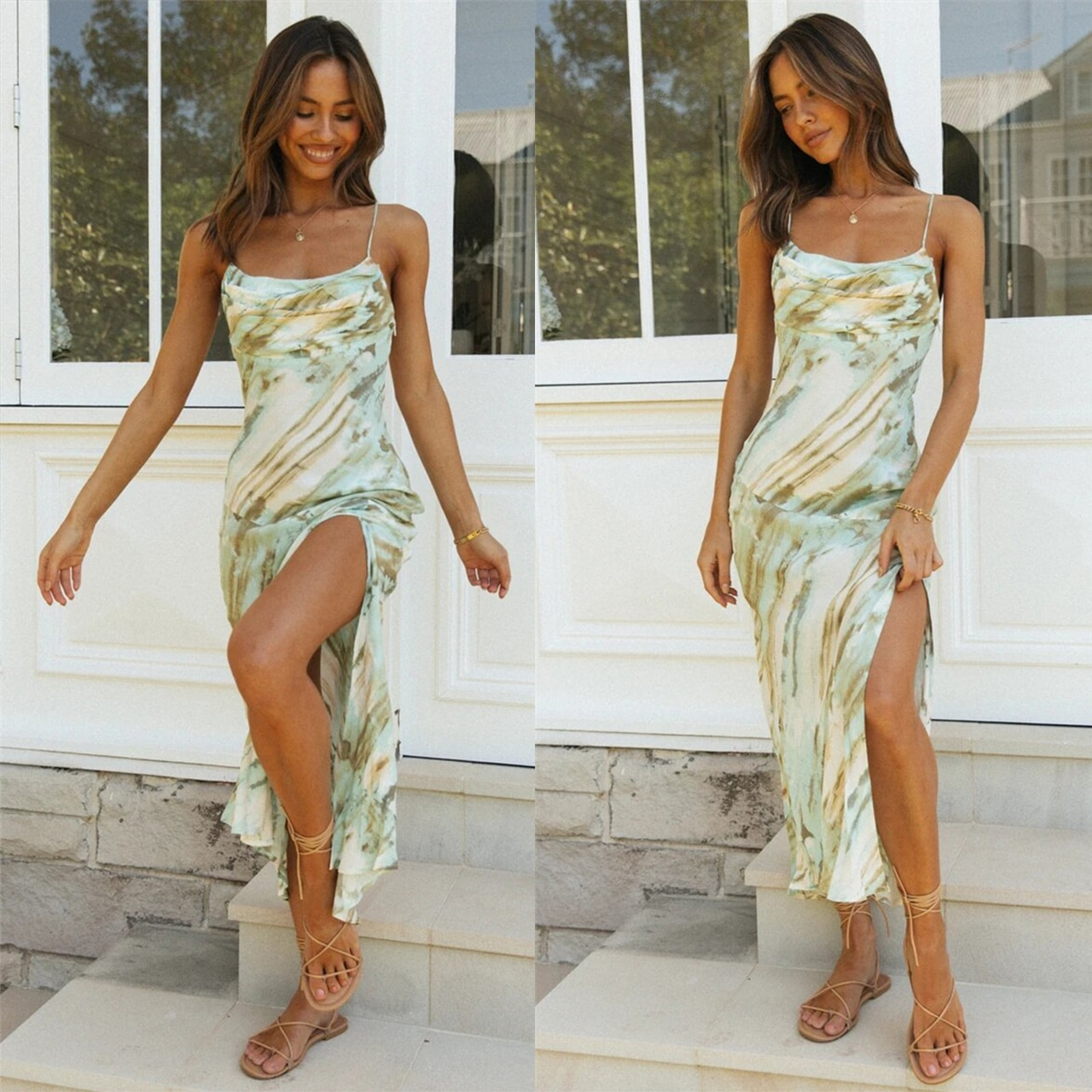 Sleeveless Ruched Bandage Tie dye Print Sexy Mini Dress Summer Women Fashion Streetwear Outfits Sundress Top Holiday Casual