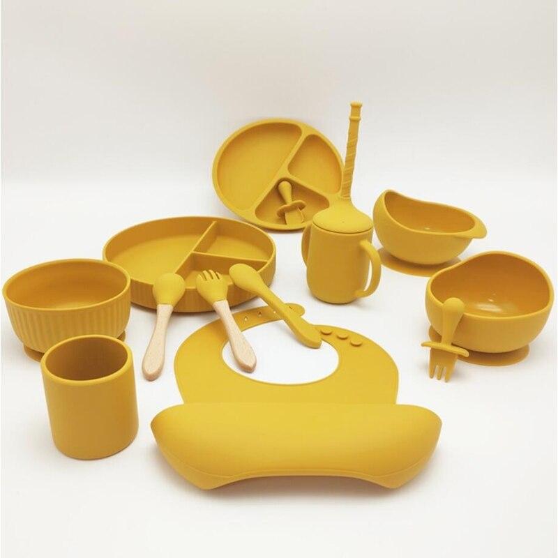 1 набор, детская посуда, модные мягкие силиконовые тарелки для еды, детские вещи, нескользящая миска для кормления, однотонная
