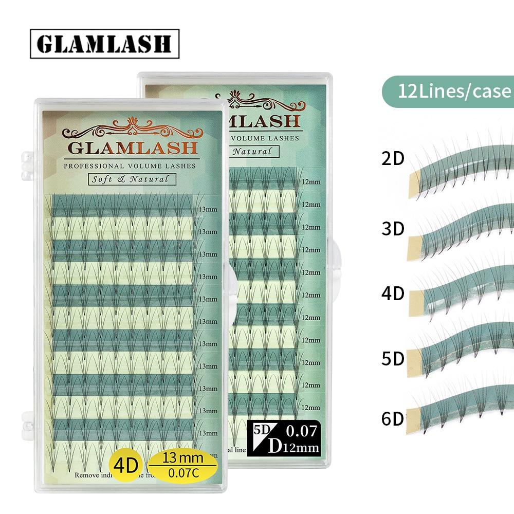 GLAMLASH Premium Premade Volume fan 2D 3D 4D 5D 6D fanned eyelash extension Russian mink lashes individual makeup tool cilios