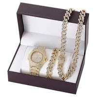 luxury men watch set hip hop watches necklace bracelet cuban chain gold color iced out paved rhinestones bling jewelry for men