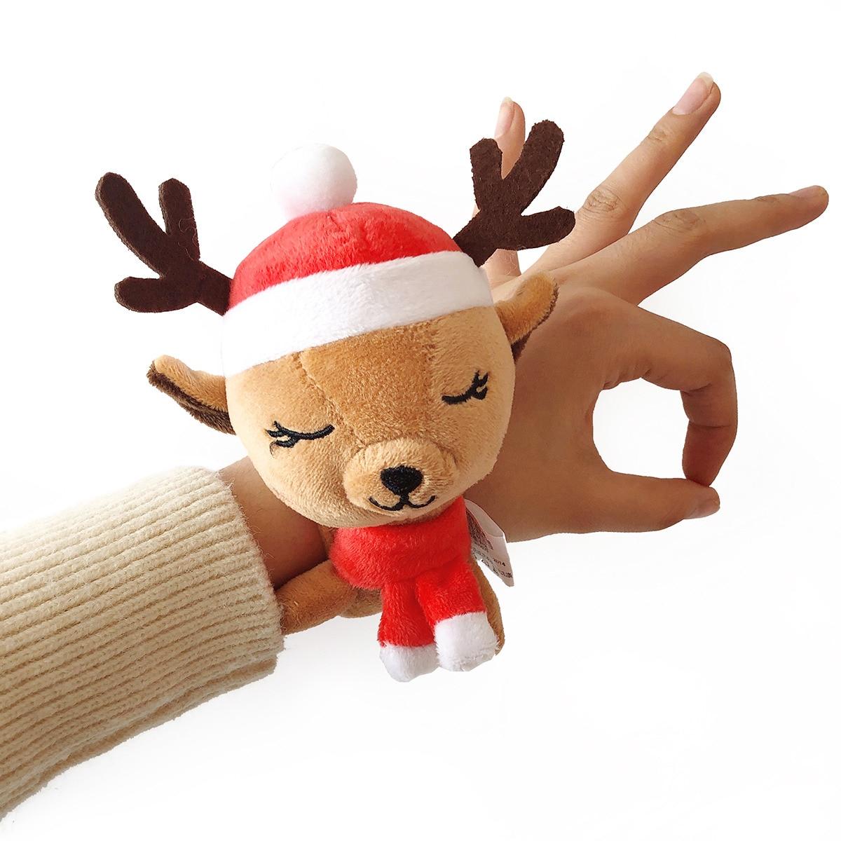 Navidad de alta calidad de peluche de Santa Claus juguetes de peluche muñeco de nieve kawaii elk animal de dibujos animados lucky doll mini mano regla de juguete regalo de Navidad