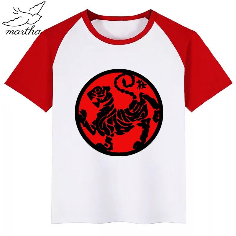 Japanese Kanji Shotokan Karate Taijutsu Martial Cartoon Fashion Funny Print T-shirt Kids Summer O-Neck Tops Boys & Girls Tshirt